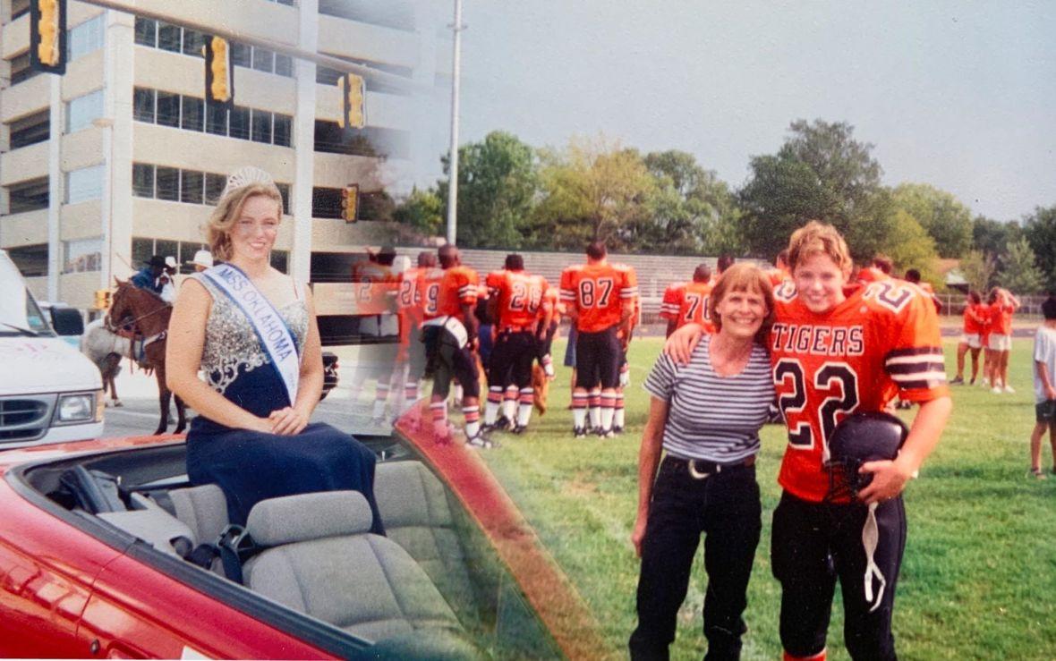 Joy Auburn in high school: beauty queen and linebacker.